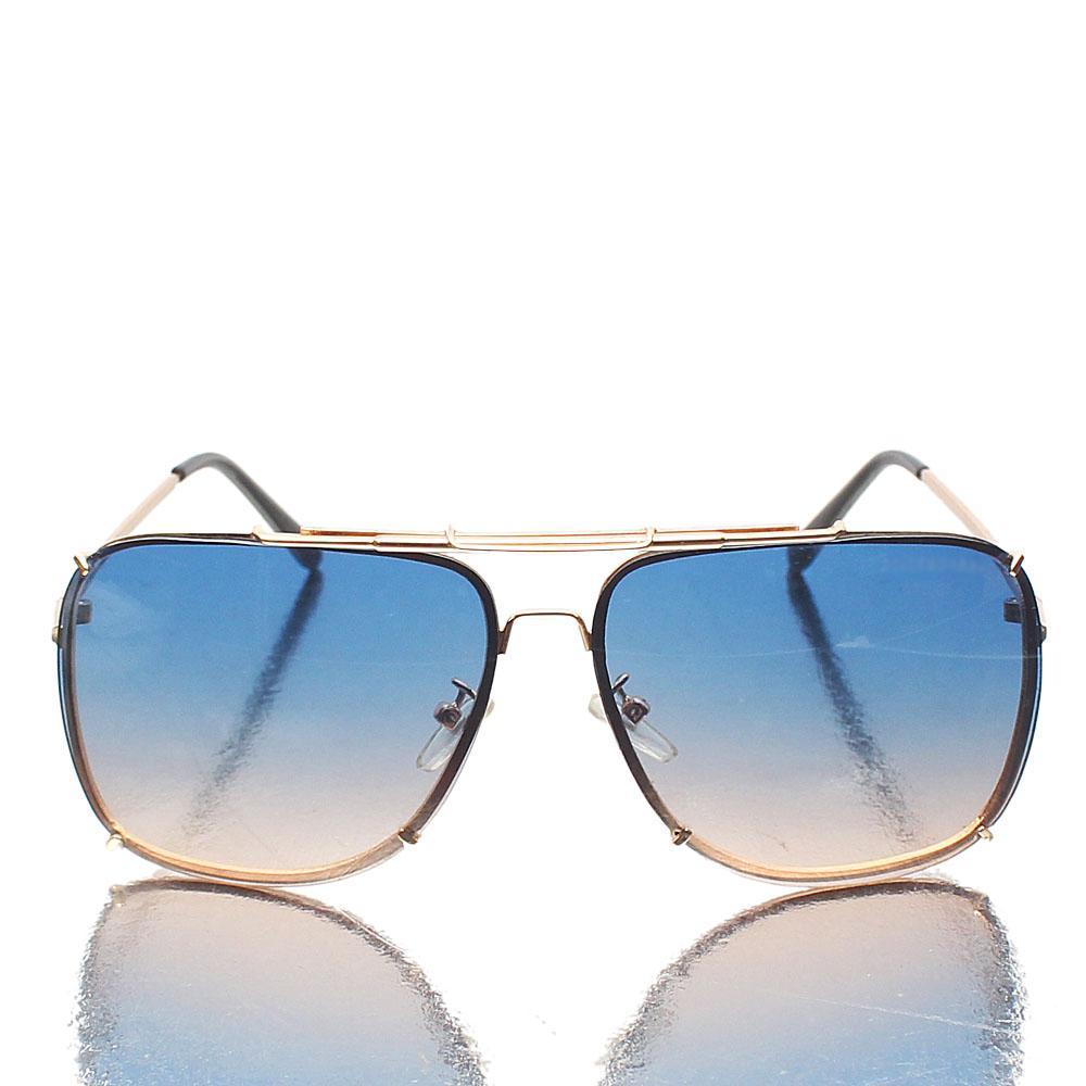 Gold Black Aviator Blue Mix Lens Sunglasses