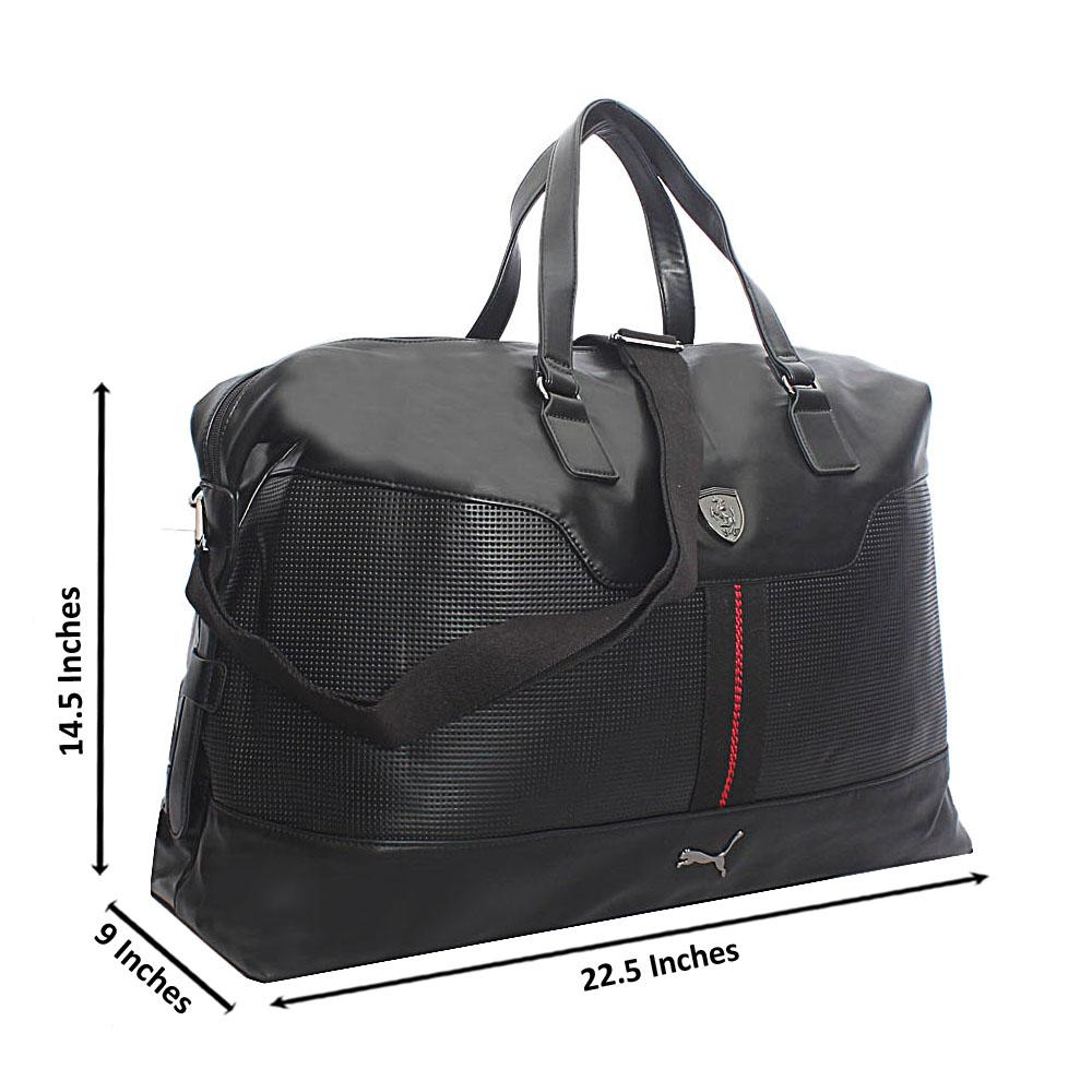 Black Etched Leather Large Premium Boston Bag
