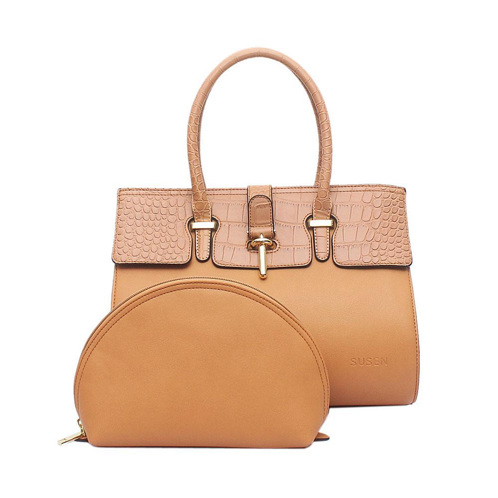 Susen Cavalier Light Brown Croc Leather Tote Bag Wt Purse