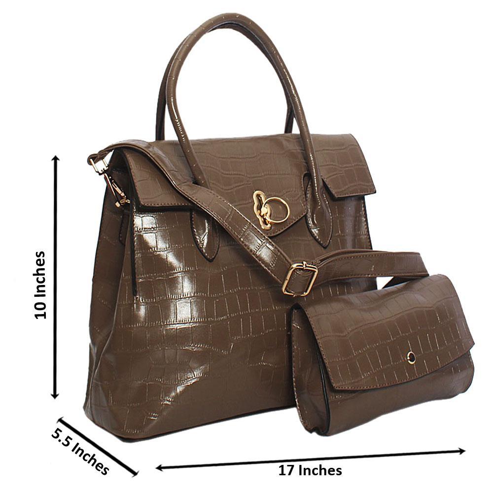Khaki Taylor Stone Croc Leather Tote Handbag