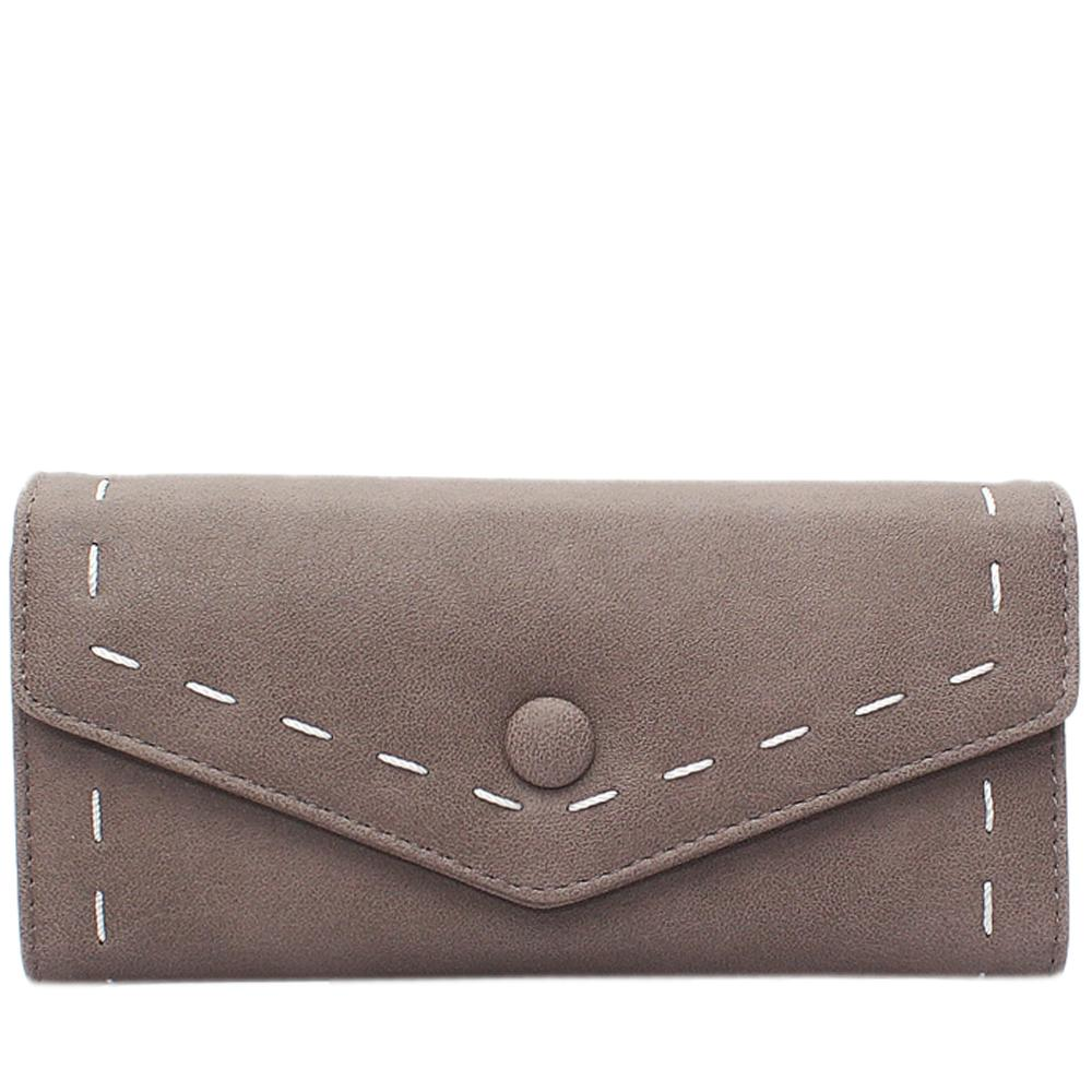 Khaki Leather Ladies Wallet