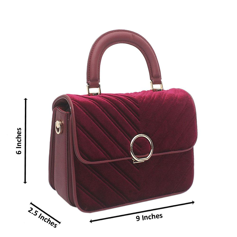 Wine Purple Susen Corduroy Small Leather Handbag
