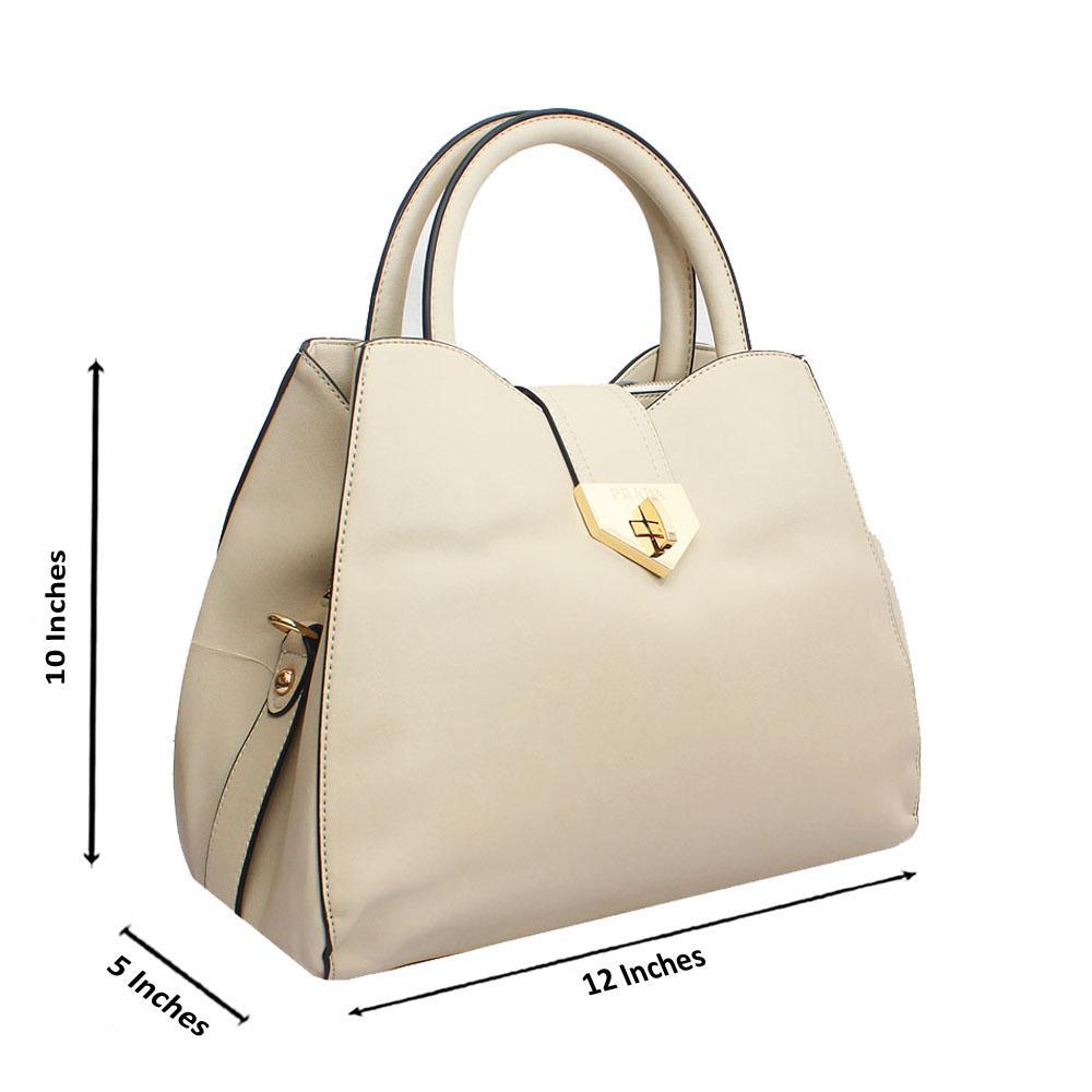 Cream Leather Medium Farrah Handbag