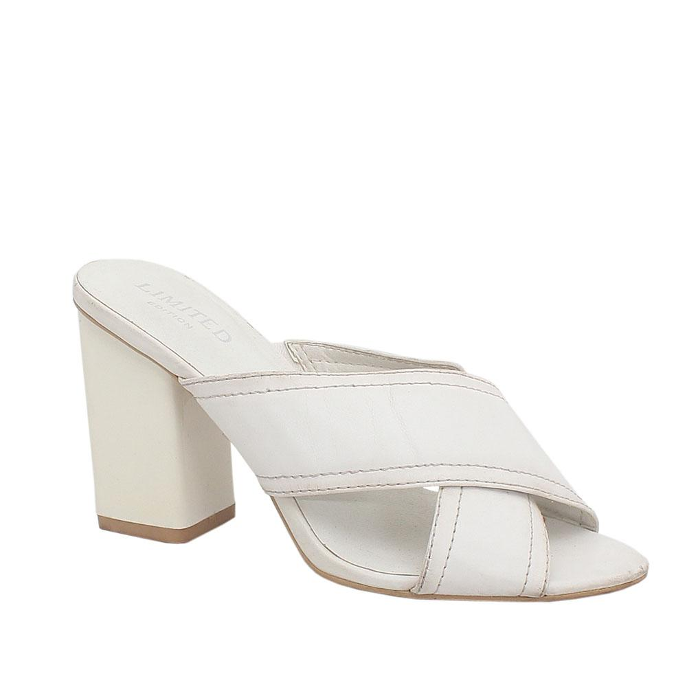 M & S Limited White Leather Ladies Heel Slippers