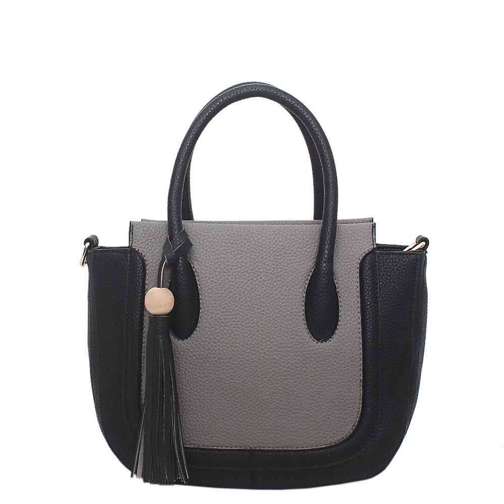 Grey Black Leather Small Tote Bag