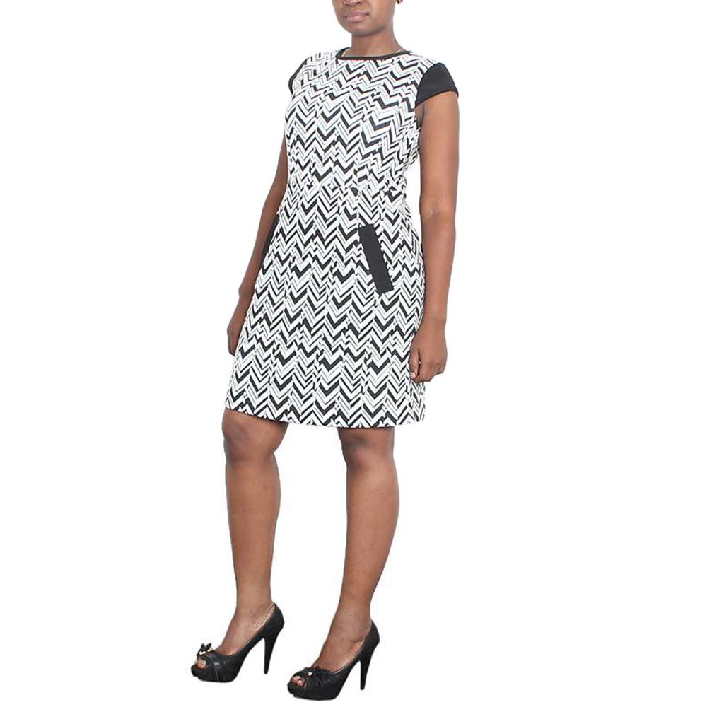 NYC White/Black Short Sleeve Ladies Dress-M