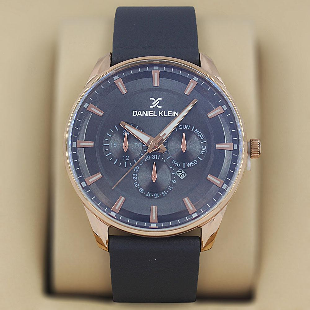 Daniel Klein Cristobal Gray Leather Fashion Series Watch