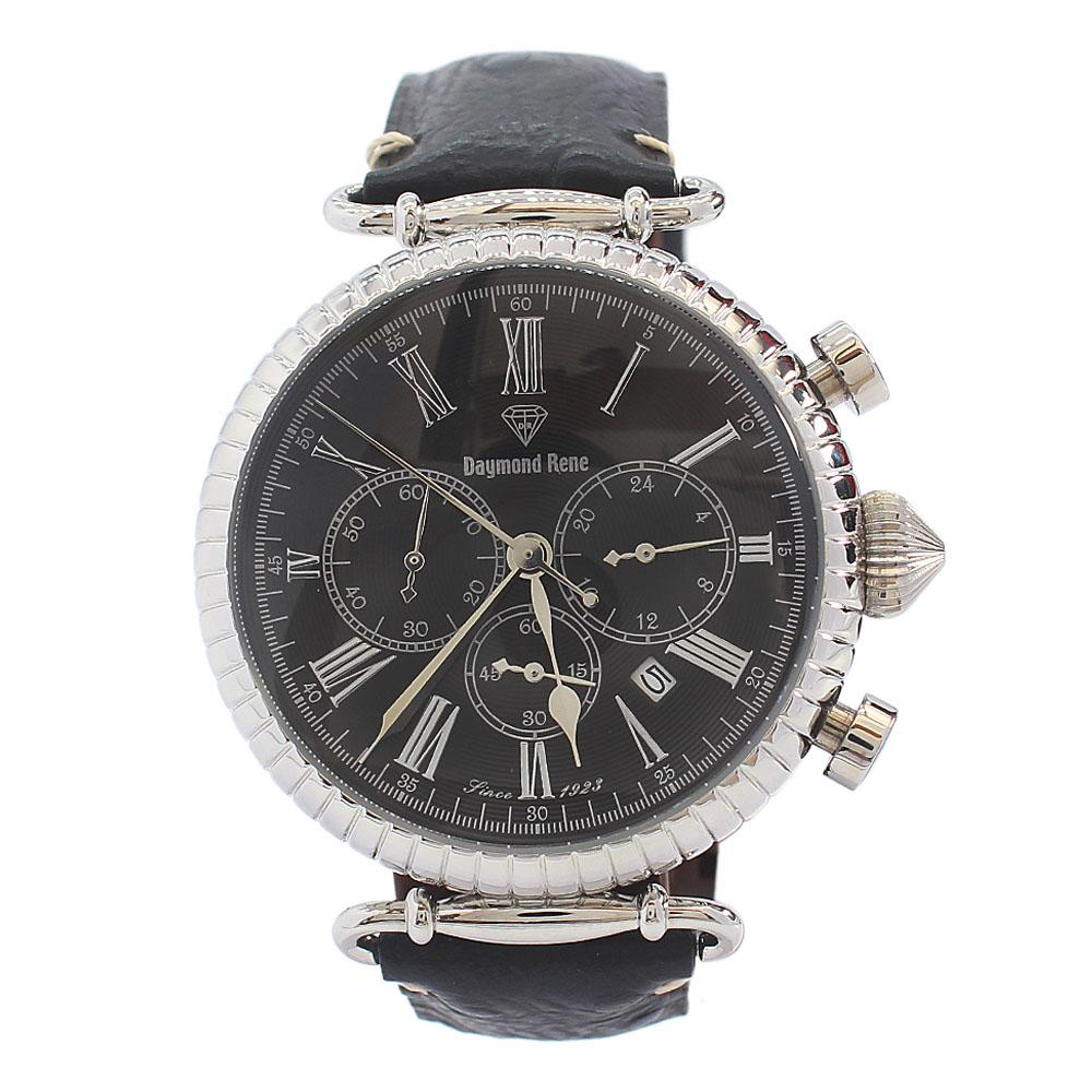 DR 5ATM Silver Black Leather Sailor Chronograph Watch