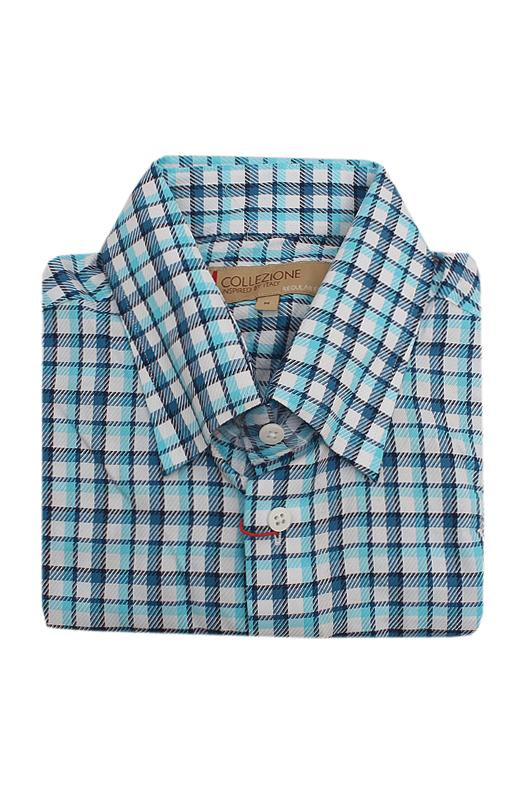 M & S Collezione White Blue Check S/Sleeve Men Shirt