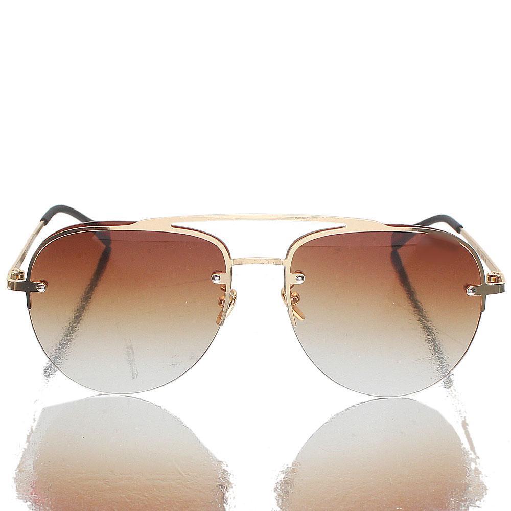 Gold Black Aviator  Brown Lens Sunglasses