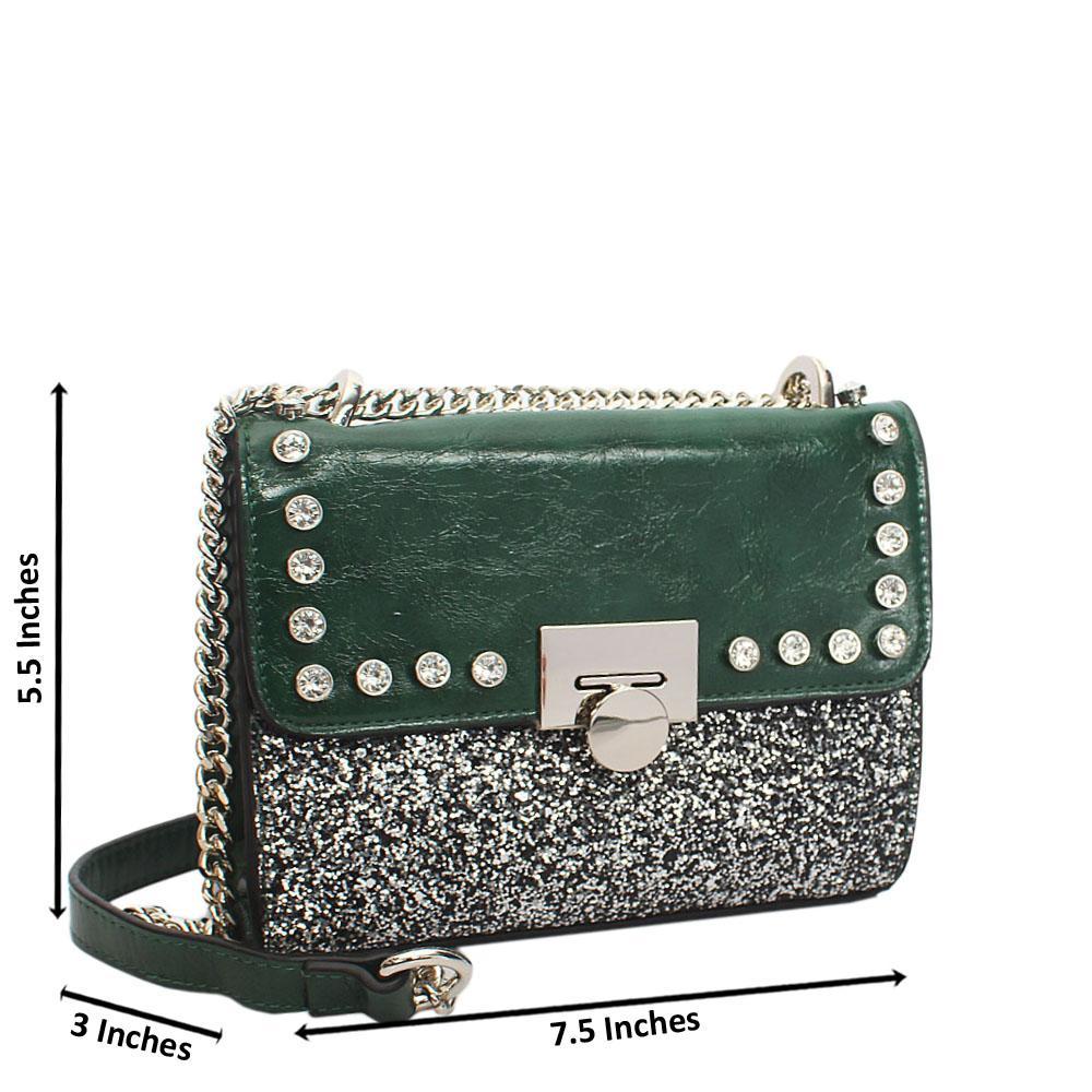 Green Ice Glitz Leather Chain Crossbody Handbag