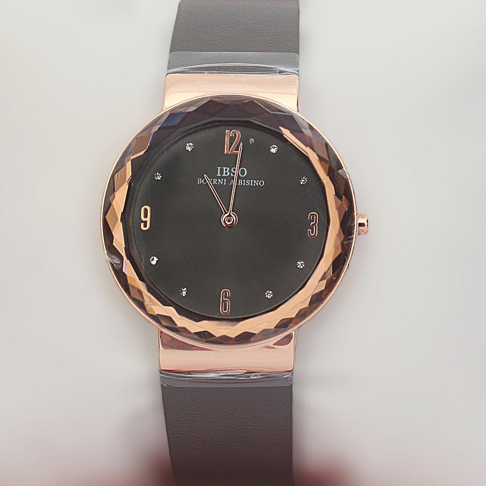OldSkul Gray Leather Ladies Flat Watch