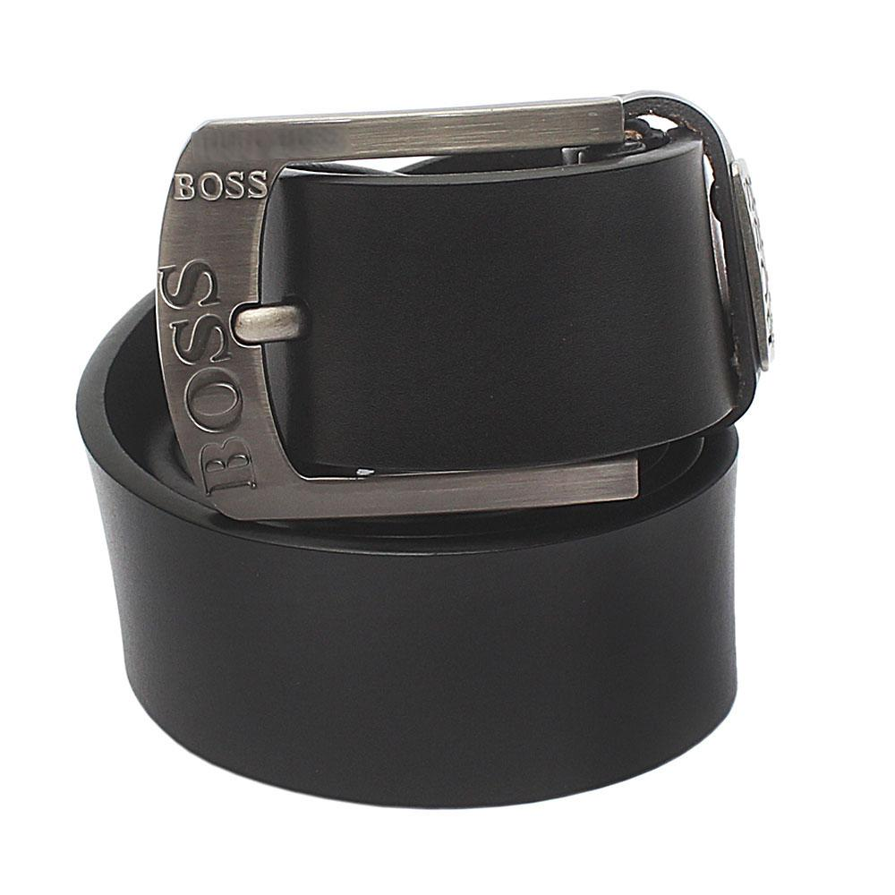 Black Exotic Leather Belt L 46 Inches