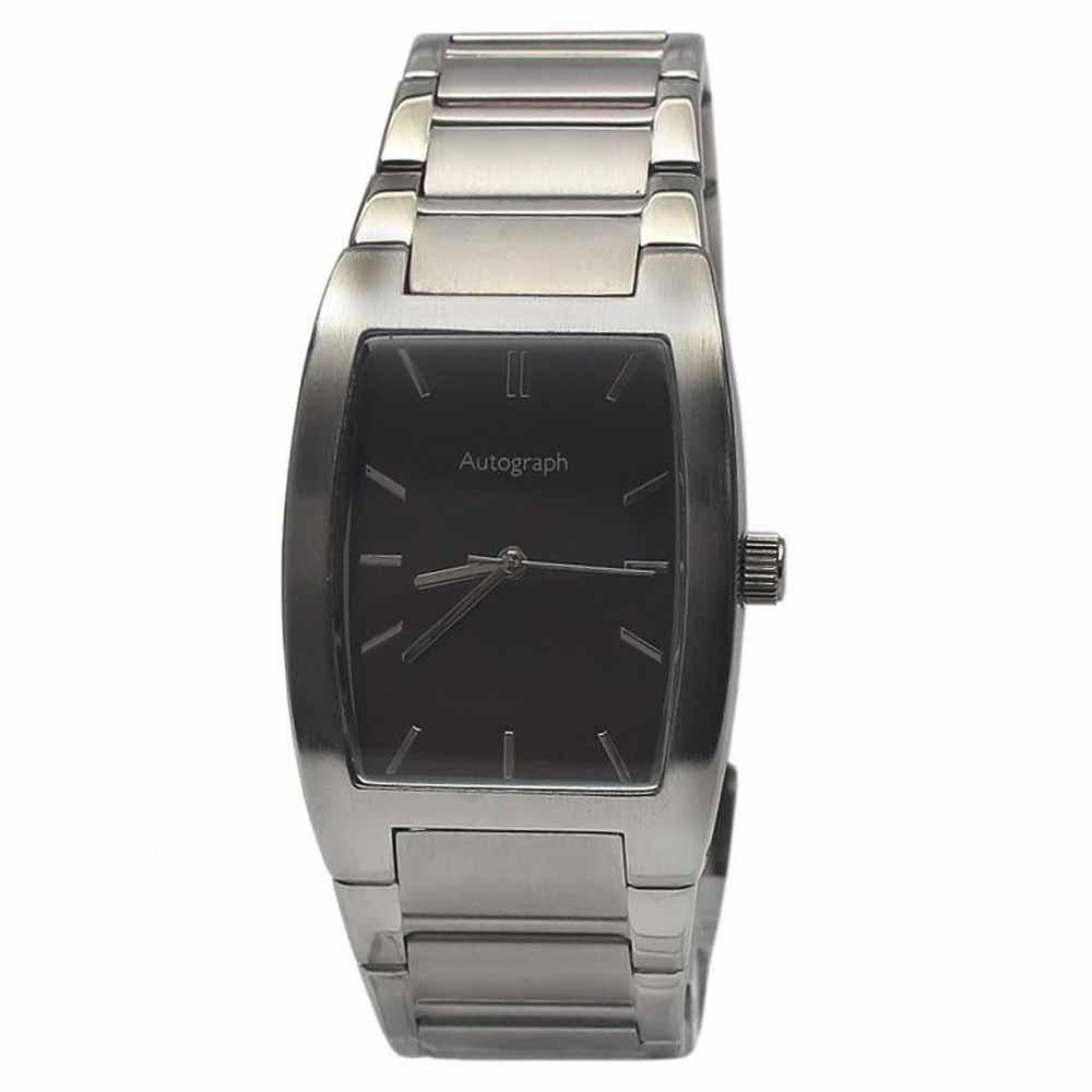M & S Autograph Stainless Steel Square Men's Watch Wt Brown Facial
