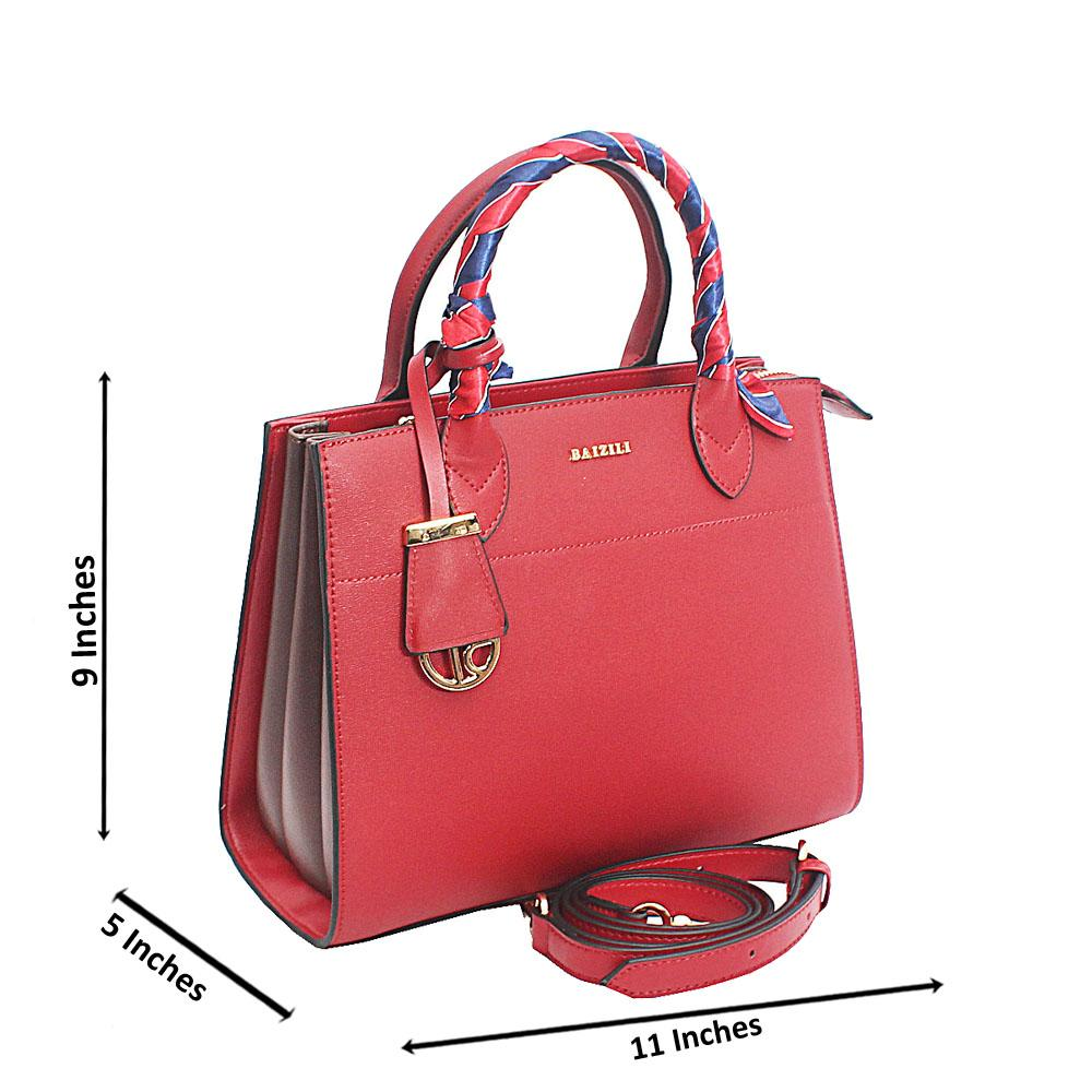Baizili Wine Stylish Handle Italian Leather Tote Handbag