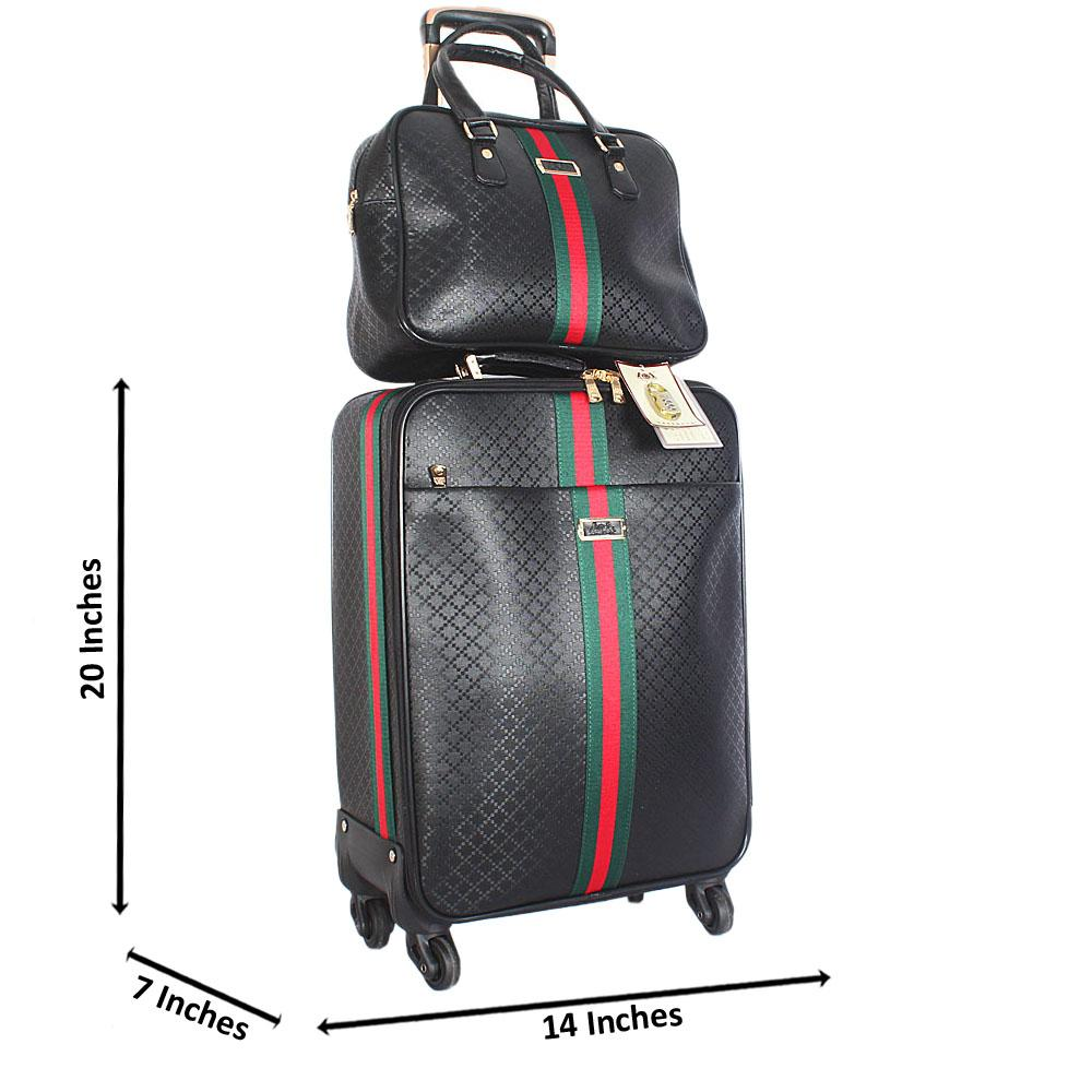 Black 20 Inch Leather 2 in 1 Carry On Luggage Wt Lock