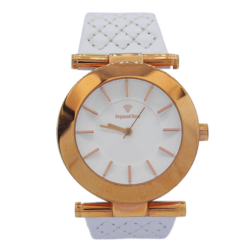 DR 3ATM Rose Gold White Leather Ladies Watch