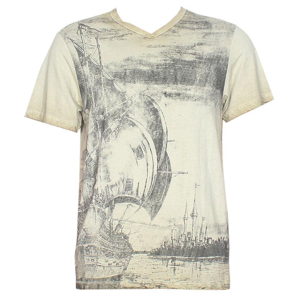 Ajio Army Green Graphic Print Men T-Shirt