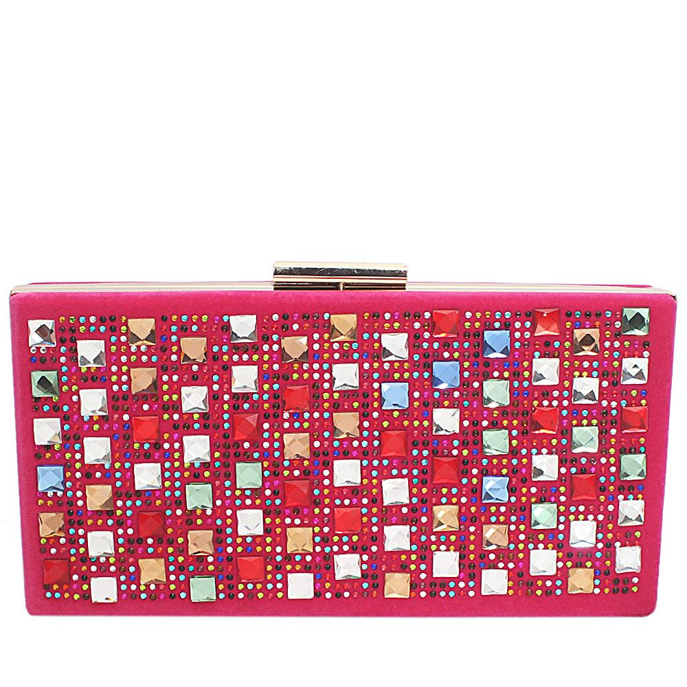 Pink Barbie Suede Studded Hard Clutch Purse