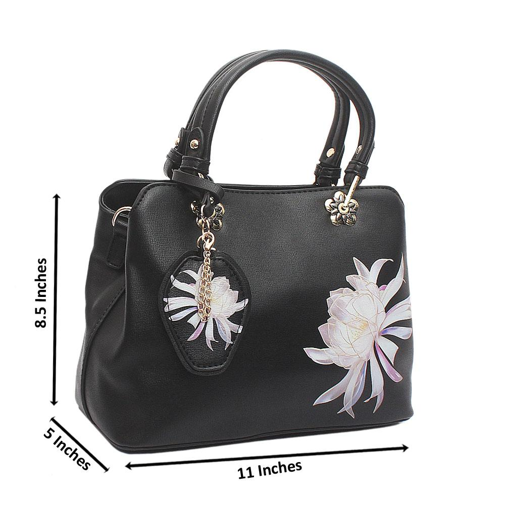 Black Flower Small Leather Handbag