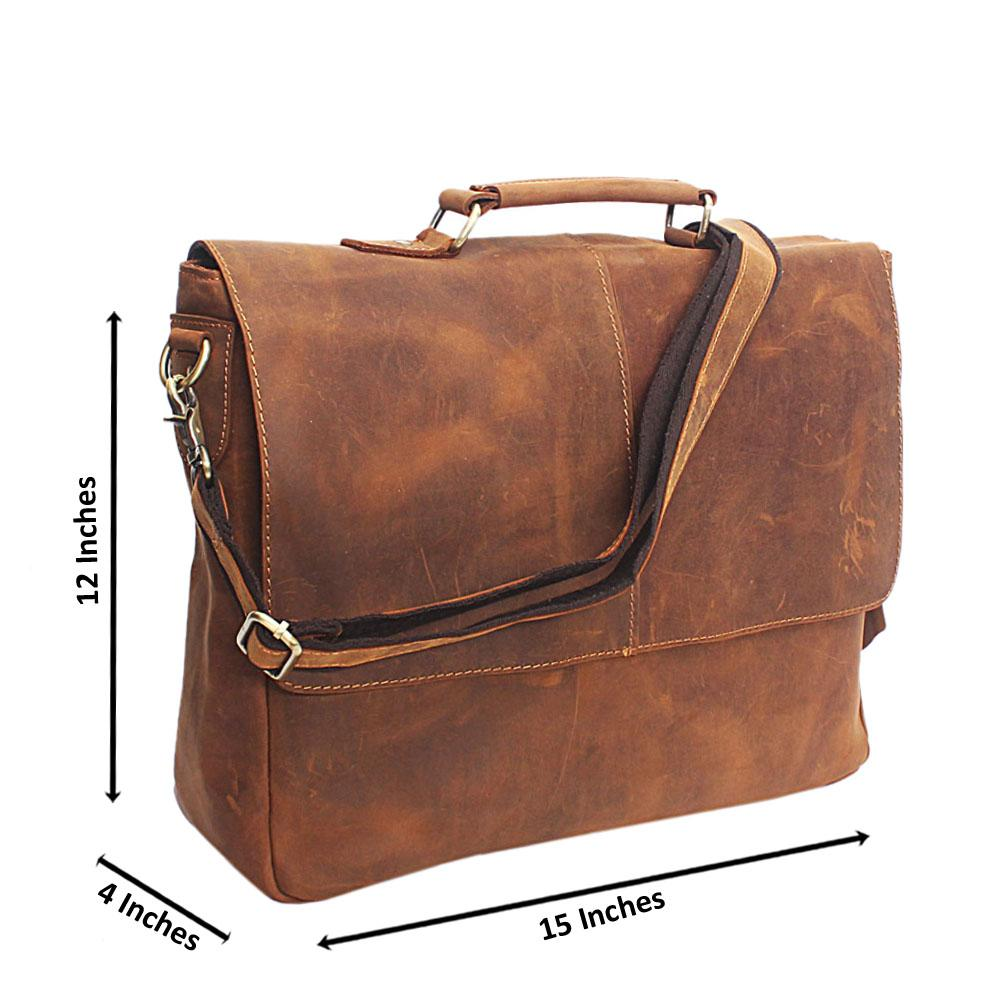 Brown Handmade Leather Briefcase Bag