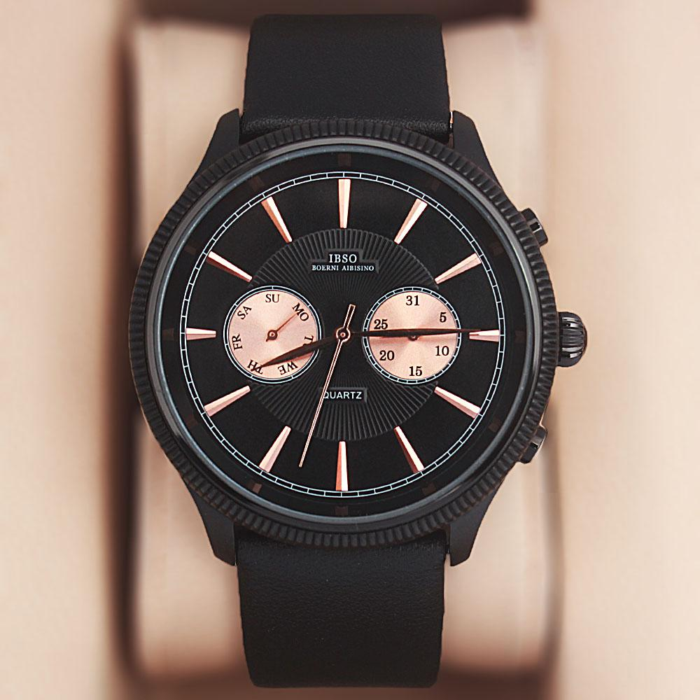 Navigator Black Leather Watch