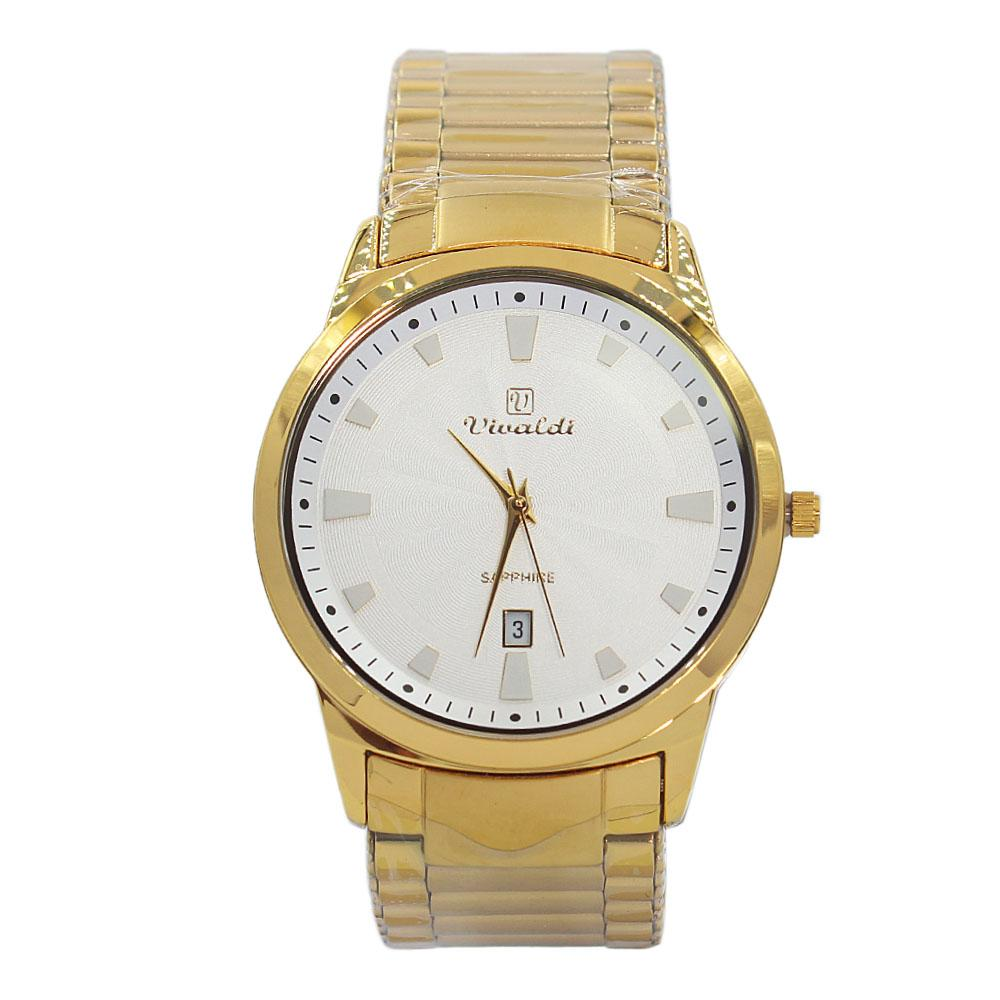 Gold-Karstan-White-Face-Stainless-Steel-Fashion-Watch