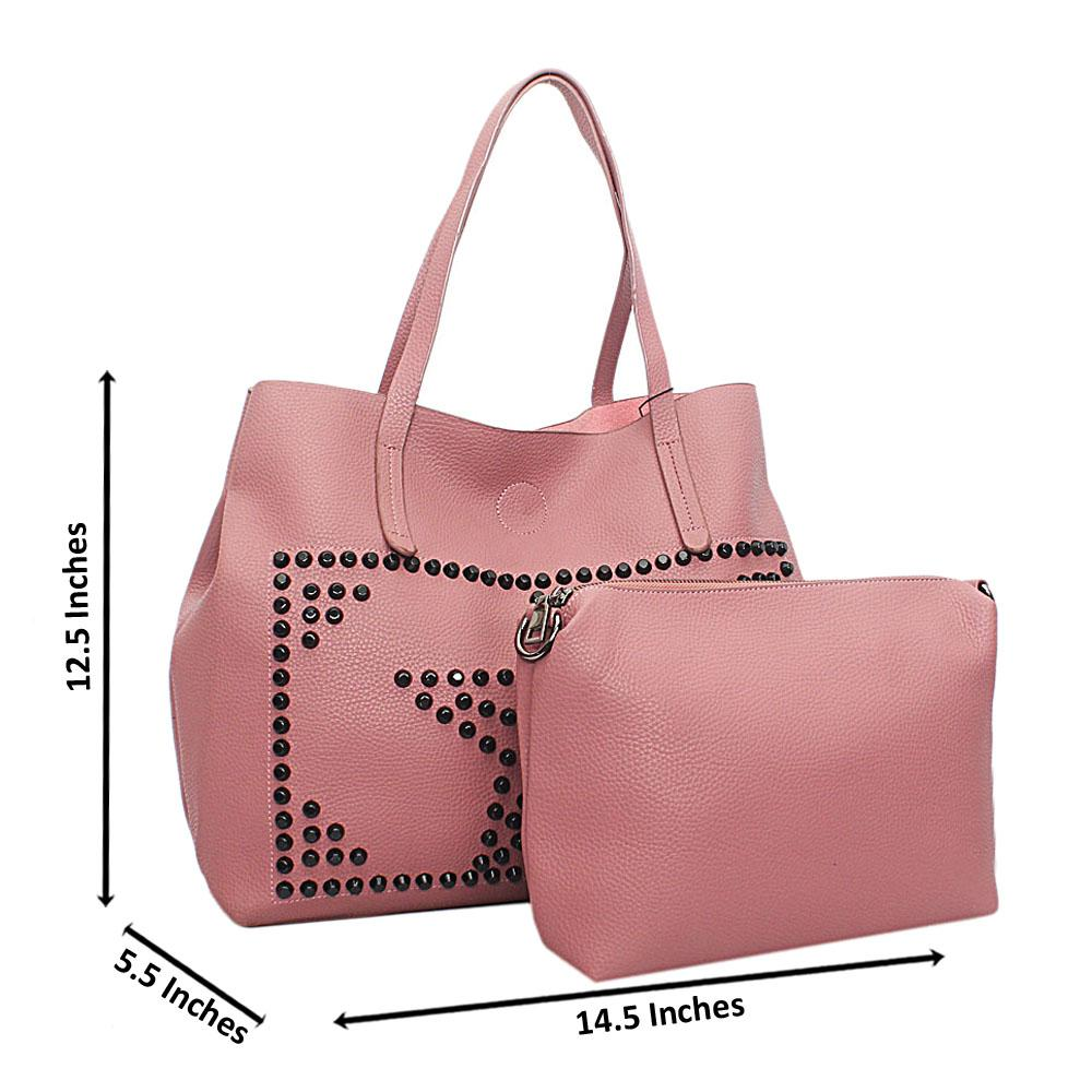 Pink Black Stud Leather Shoulder Bag