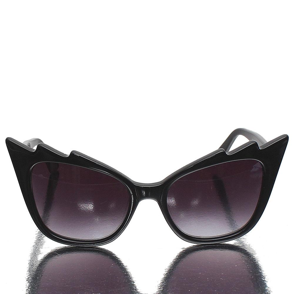 Black Plastic Cat Eye Dark Lens Sunglasses