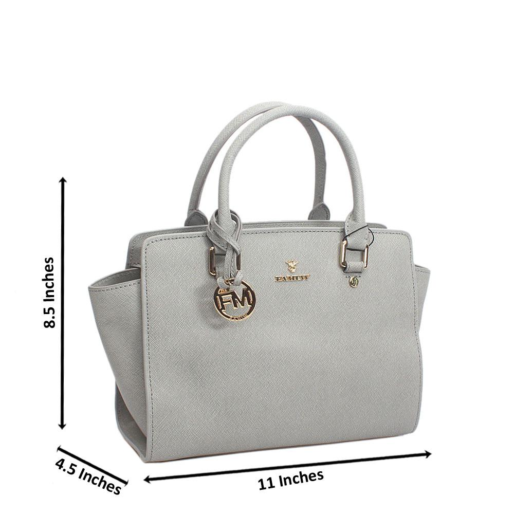 Elegant Grey Top Zip Jet Tuscany Leather Tote Handbag