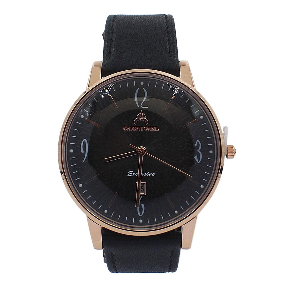 Black Rose Gold Iconic Leather Flat Watch