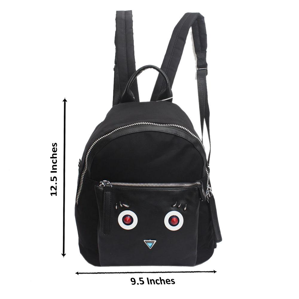 Black Fabric Leather Monster Backpack