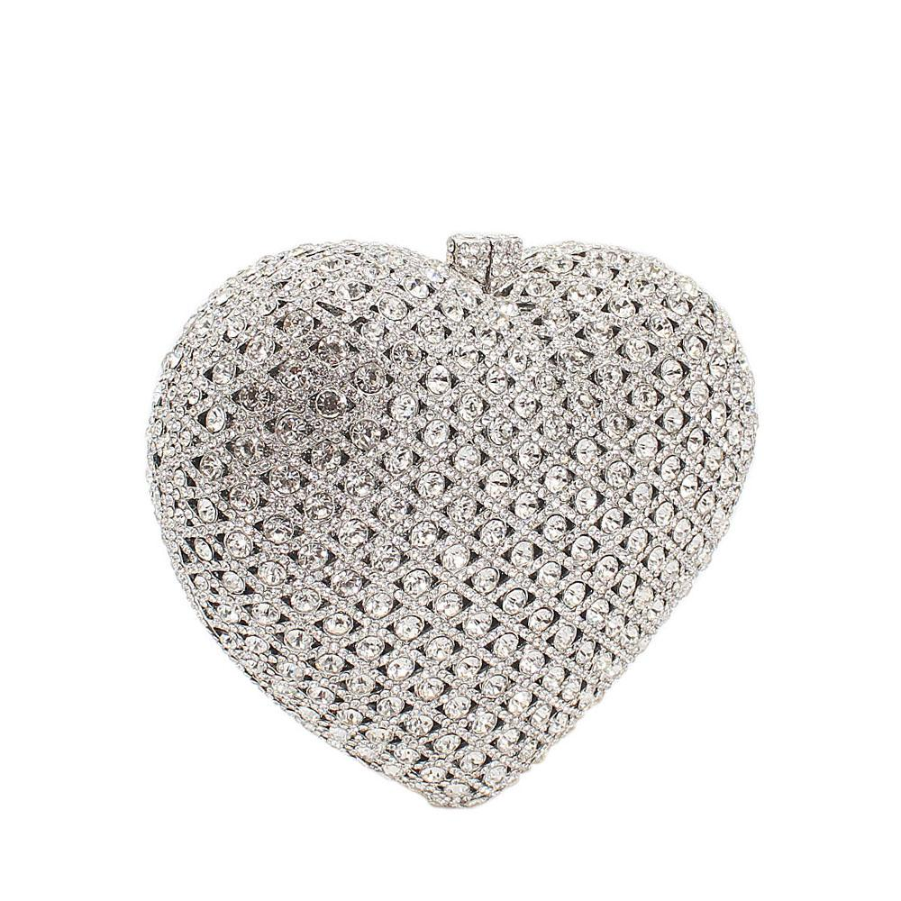 Silver Love Shaped Diamante Crystals Clutch Purse