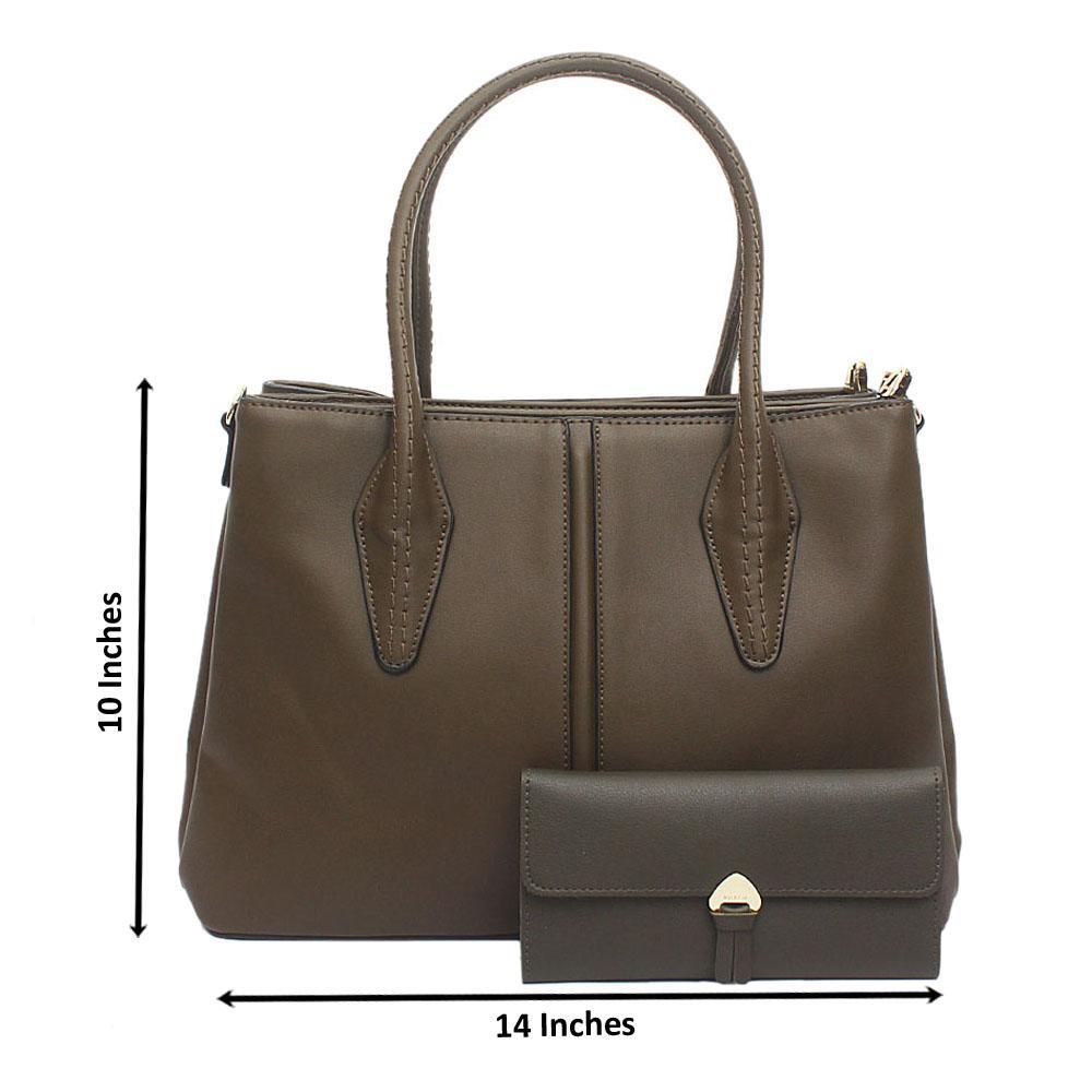 Susen Green Leather Handbag Wt Purse