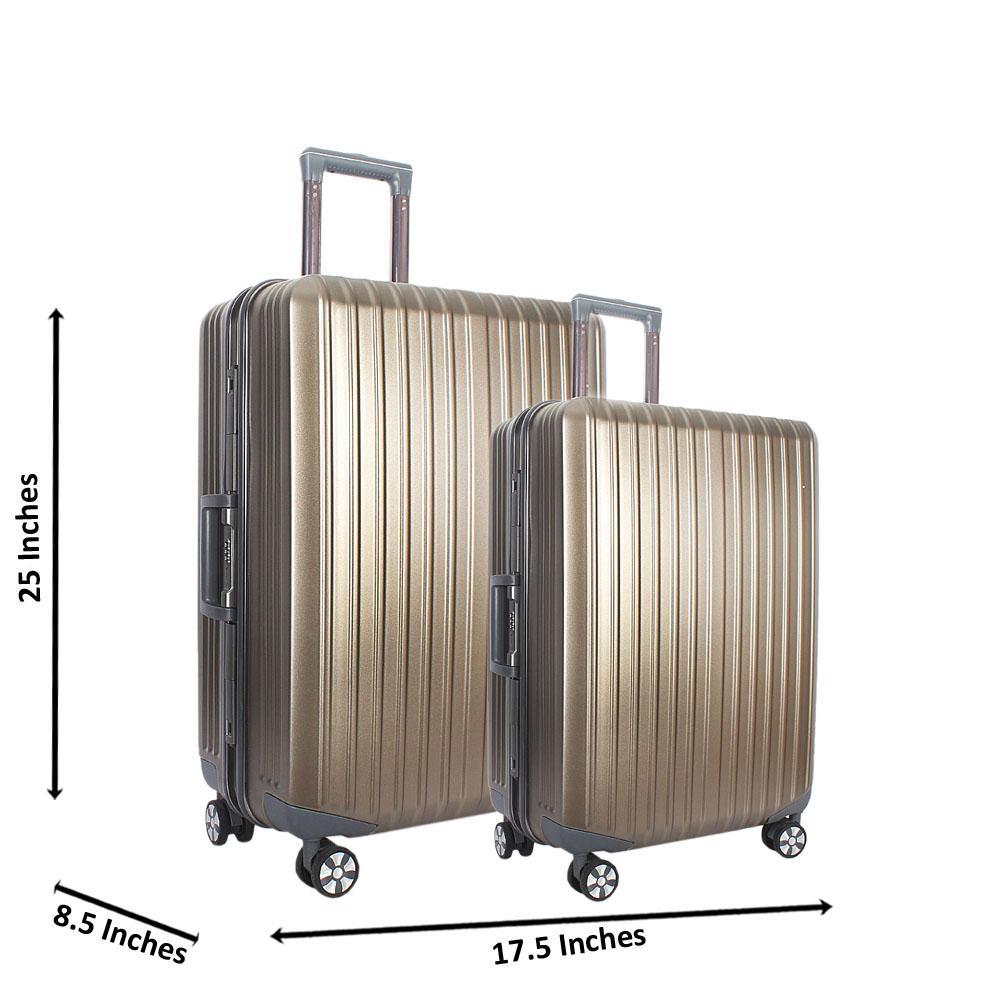 Metallic Grey 25 inch Wt 20 inch 2 in 1 Hardshell Luggage Set Wt TSA Lock