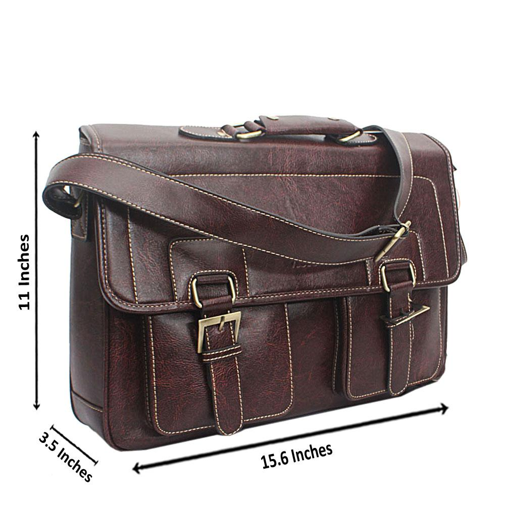 Dark Brown Victoria Leather Messenger Bag