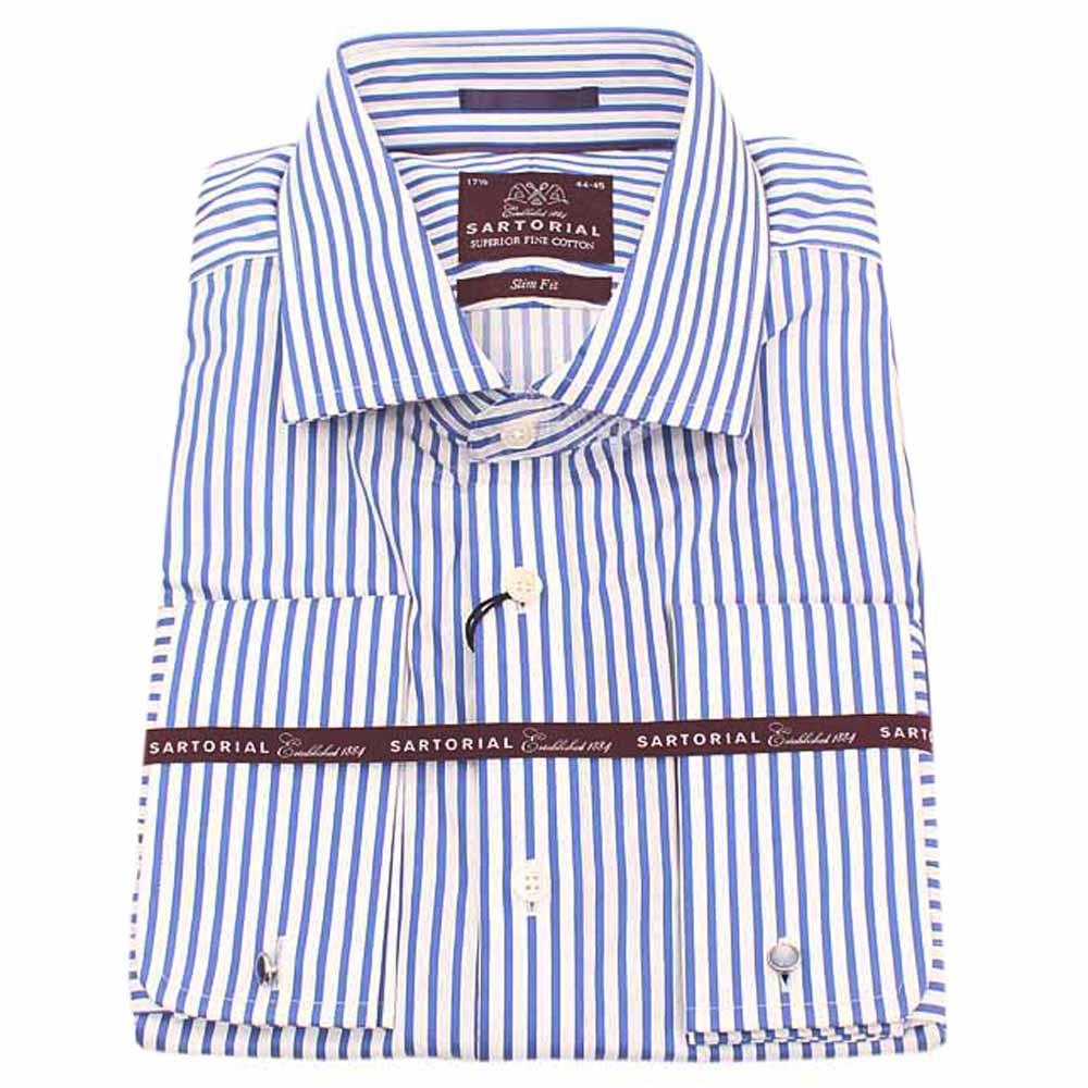 Sartorial Blue White Striped Regular Fit Men Shirt Wt Cuffs -Sz 14.5