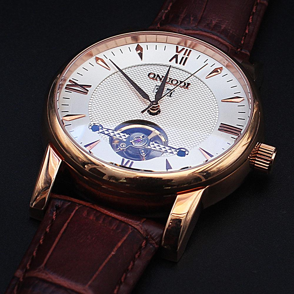 Shanghai Nudi Gold Brown Leather Automatic Roman Watch