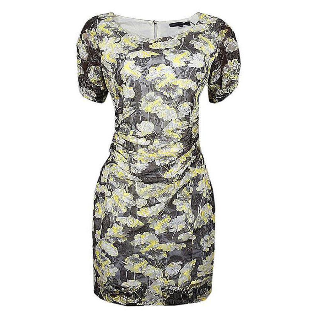 M&S Collection Light Grey Mix S/L Ladies Dress-UK 10
