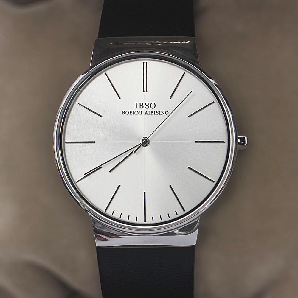 Oxford Silver Black Leather Flat Watch
