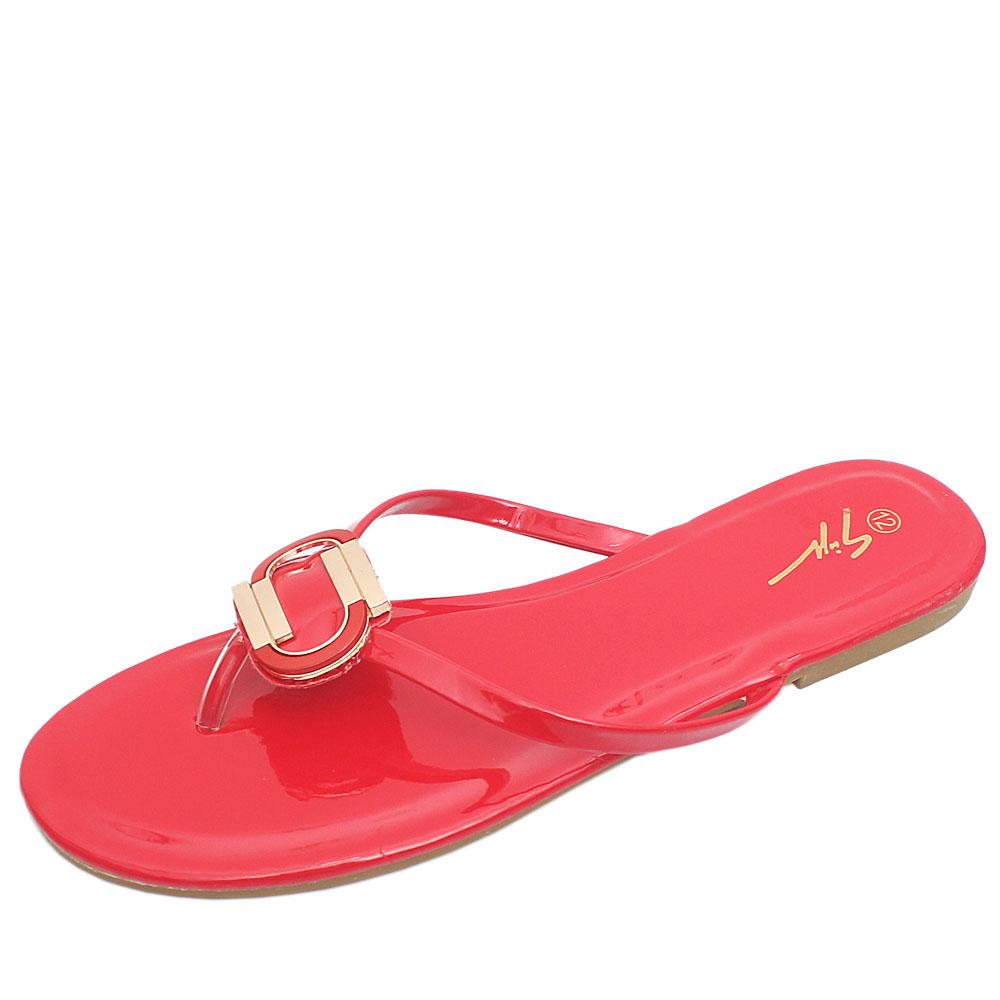 Gius Red Patent Leather Flat Slippers