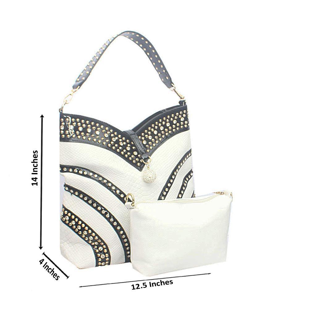 Black White Marshymallow Studded Tandy Leather Shoulder Bag