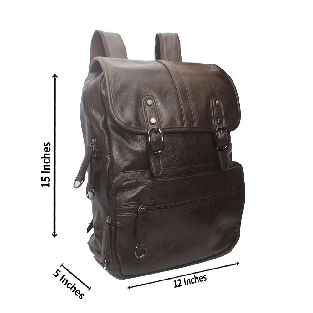 Casania Coffee Double Clip  Leather Backpack
