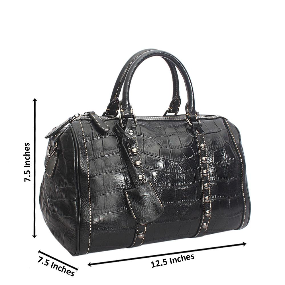 Black  Sequence Studded Crocodile Pattern Cow Leather Handbag