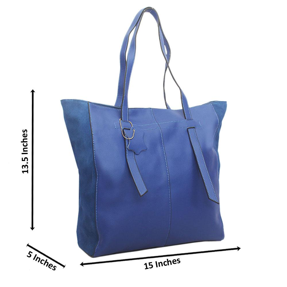 Exotic Blue Suede Mix Tall Tuscany Leather Handbag