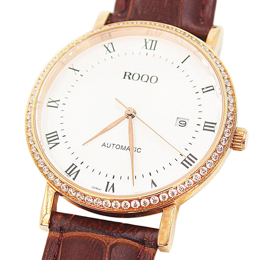 Shanghai Javier Studded Brown Leather Automatic Classic Watch