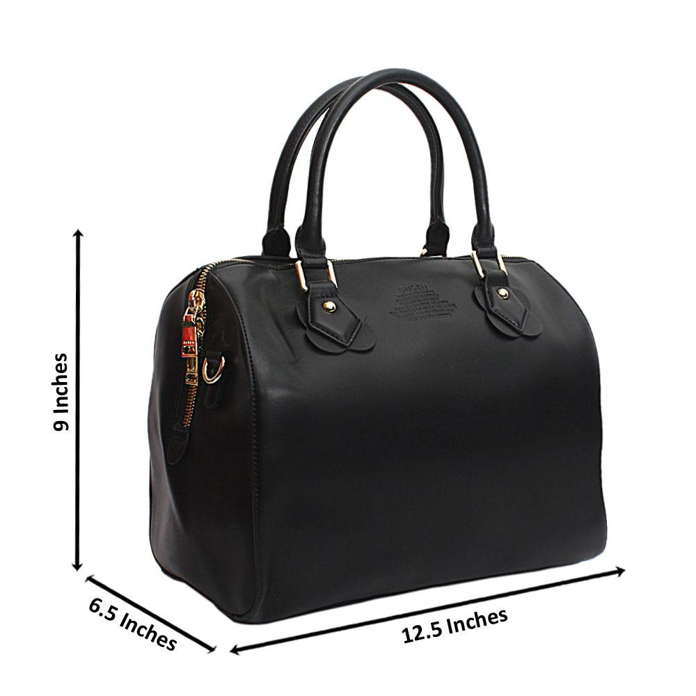 Susen Black Medium Boston Leather Handbag