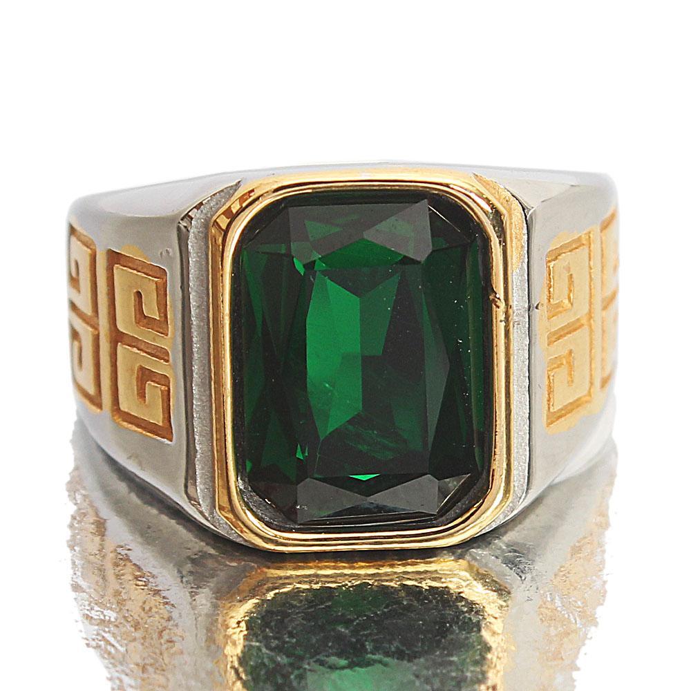 Twin-Tone Green Stoned Steel Ring