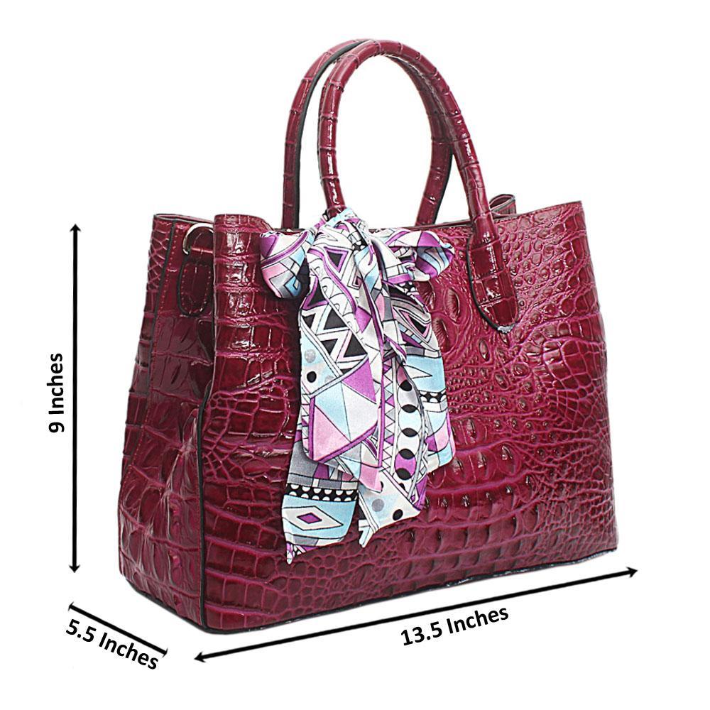 Purple Calfskin Croc Saffiano Leather Handbag