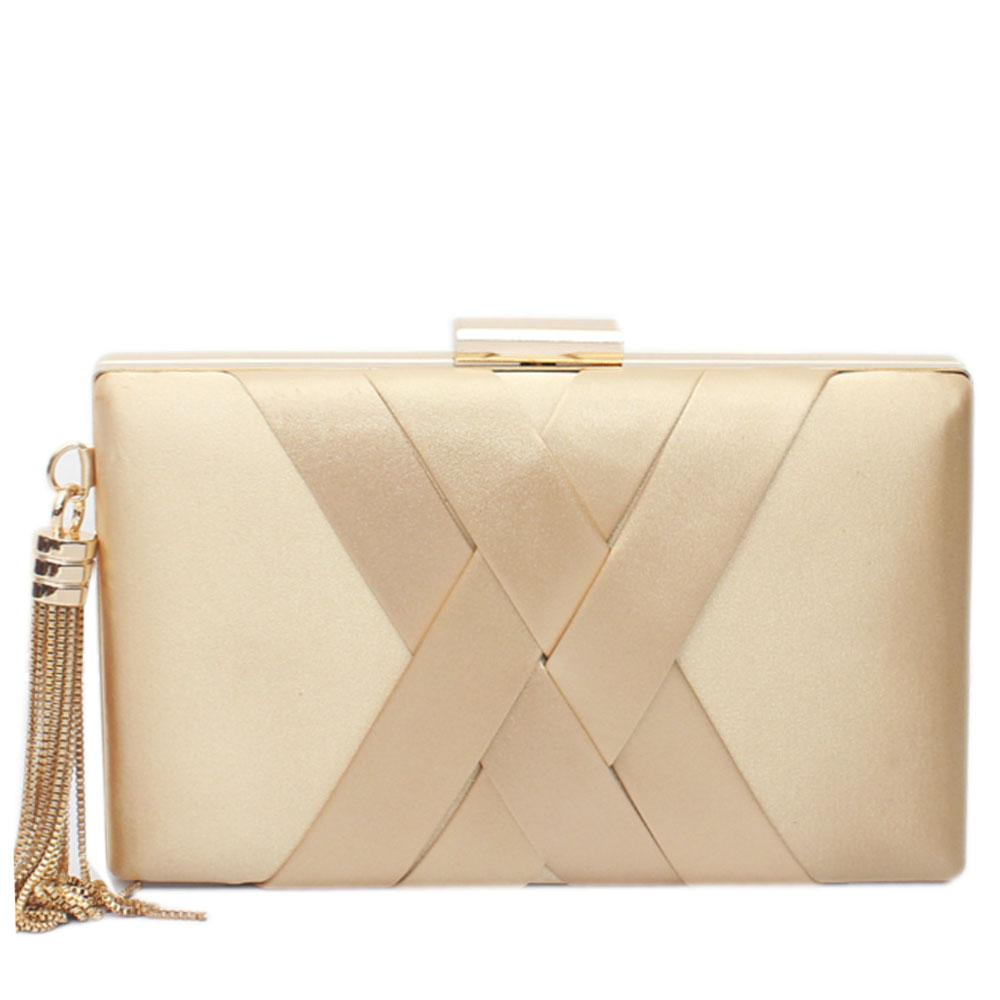 Gold Fabric Premium Hard Clutch